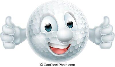 balle, golf, dessin animé, mascotte