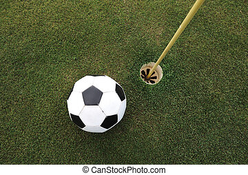 balle, golf, grand, champ football, trou