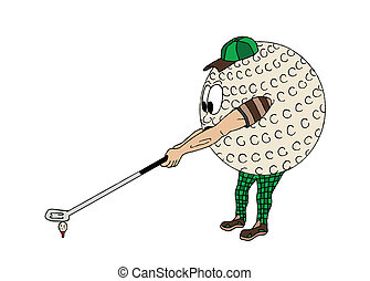 balle, golf, humain