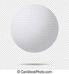 balle, golf, illustration., classique, isolé, arrière-plan., vecteur, conception, ombre, transparent