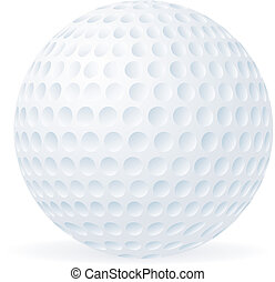 balle, golf, isolé, blanc