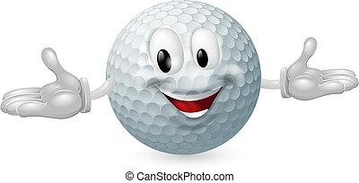 balle, golf, mascotte