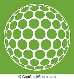 balle, golf, noir, blanc vert, icône