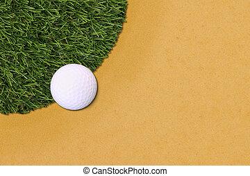 balle, golf, sand., champ, bord, herbe