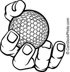 balle, golf, tenant main