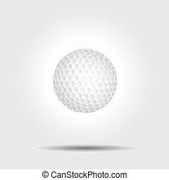 balle, golf, vecteur, fond, blanc, ombre