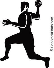 balle, handball, lancement, sauter, retro, blanc, joueur, noir