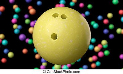 balle, haut, jaune, clair, bowling, fin