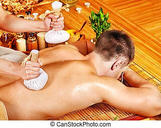 balle, herbier, homme, obtenant massage, traitements