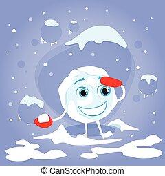 balle, hiver, caractère, neige, boule de neige, gants, dessin animé, rouges