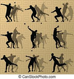 balle, illustration, lancement, collection., résumé, mâle, silhouettes, vecteur, fond, sport, athletics.