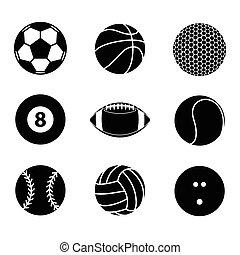 balle, illustration, vecteur, collection, vide, blanc, sport, icône