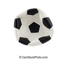 balle, isolé, fond, dégonflé, blanc, football