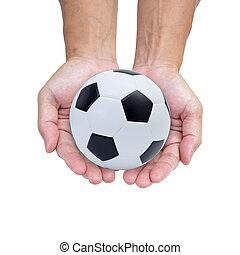 balle, isolé, fond, mains, blanc, football