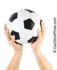 balle, isolé, haut, tenant mains, blanc, football