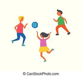 balle, isolé, jouer, vecteur, dehors, enfants