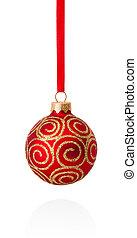 balle, isolé, whi, rouges, décorations, pendre, noël, ruban