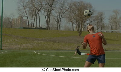 balle, jeune, champ, football, footballeur, titre