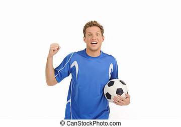 balle, jeune, player., isolé, main, gai, joueur, quoique, sien, blanc, football, faire gestes, beau