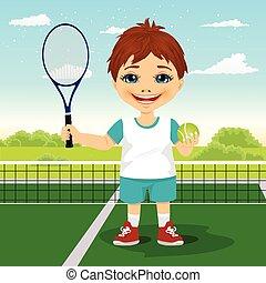 balle, jeune, raquette, tribunal, garçon, sourire, tennis