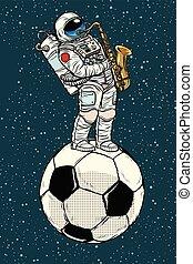 balle, jeux, football, saxophone, astronaute, football