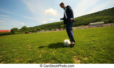 balle, jouer, field., joueur, football, angle., large
