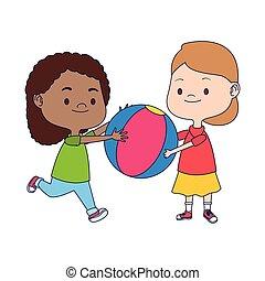 balle, jouer, filles, coloré, dessin animé, plat, conception