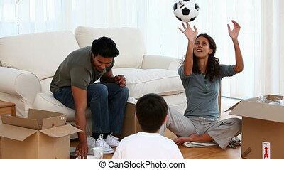 balle, jouer, mère, fils