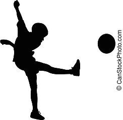balle, jouer, silhouette