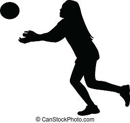 balle, jouer, vecto, silhouette