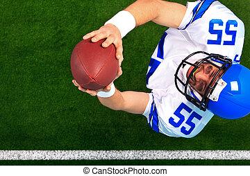 balle, joueur football, américain, attraper, aérien