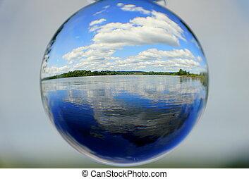 balle, lac, bleu ciel, beau, lentille, par, nuages, blanc, capturé, cristal