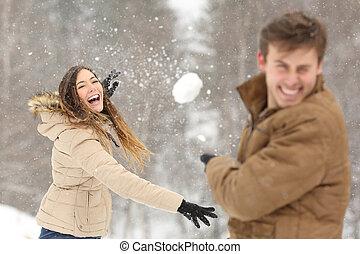 balle, lancement, couple, neige, petite amie, jouer