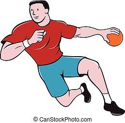 balle, lancement, joueur, dessin animé, handball
