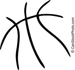 balle, lignes, basket-ball