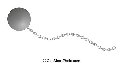 balle, long, chaîne