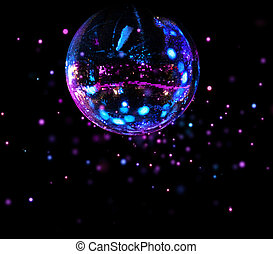 balle, lumière colorée, taches, disco, miroir