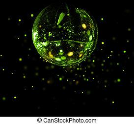 balle, lumière colorée, taches, disco, vert, miroir