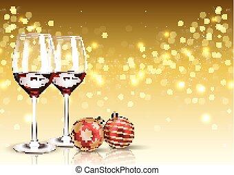 balle, lumière, verre, bokeh, fond, noël, vin