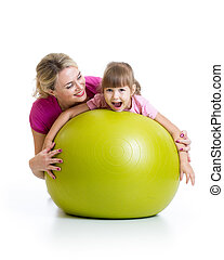 balle, mère, gosse, fitness