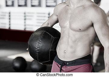 balle, médecine, midsection, sans chemise, entraîneur