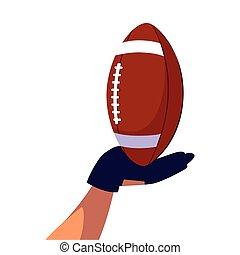 balle, main, fond, blanc, américain, football avoirs