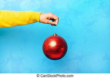 balle, main, rouges, noël
