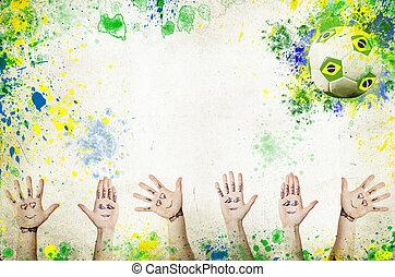 balle, mains, applaudissement, football