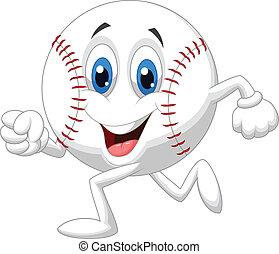 balle, mignon, base-ball, dessin animé, courant