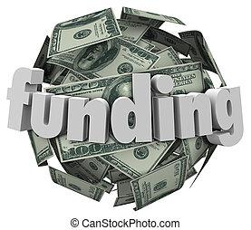 balle, mot, argent, note, dollar, monnaie, financement, 100