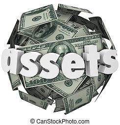 balle, mot, biens, argent, valeur, sphère, filet, valeur, ...