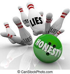 balle, mot, honnêteté, frappant, gagne, mensonges, sincérité, roulant épingles