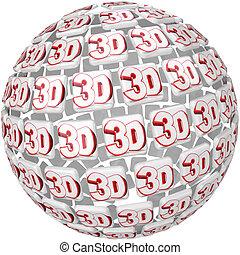 balle, mot, trois, effet, dimensionnel, sphère, 3d