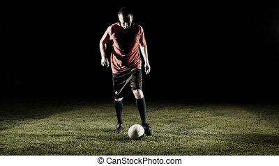 balle, mouvement, joueur, lent, football, coup de pied